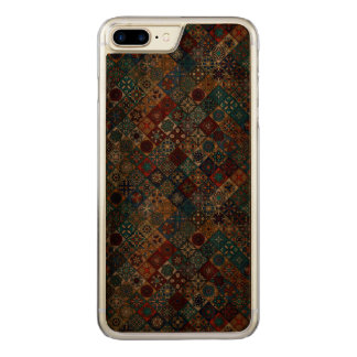 Capa iPhone 8 Plus/ 7 Plus Carved Retalhos do vintage com elementos florais da