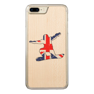 Capa iPhone 8 Plus/ 7 Plus Carved SNOWBOARDER de Union Jack (preto)