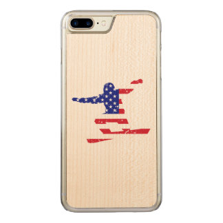 Capa iPhone 8 Plus/ 7 Plus Carved Stars o SNOWBOARDER das listras do ` n' (branco)