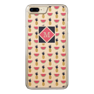 Capa iPhone 8 Plus/ 7 Plus Carved Teste padrão bonito do Doodle do abacaxi & da