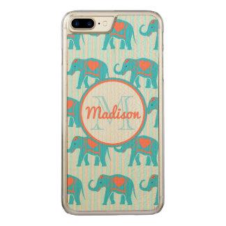 Capa iPhone 8 Plus/ 7 Plus Carved Turquesa da cerceta, elefantes azuis no nome da