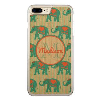 Capa iPhone 8 Plus/ 7 Plus Carved Turquesa da cerceta, elefantes azuis, nome das
