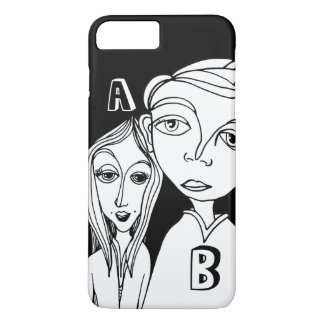 Capa iPhone 8 Plus/7 Plus Casal do Doodle & duas letras personalizadas