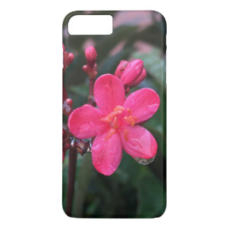 Capa iPhone 8 Plus/7 Plus Caso floral cor-de-rosa de Iphone 7