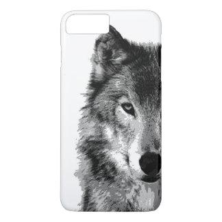 Capa iPhone 8 Plus/7 Plus Caso positivo do iPhone 7 do lobo preto & branco