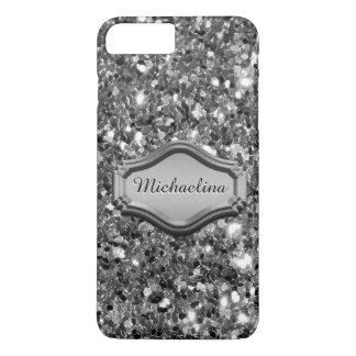 Capa iPhone 8 Plus/7 Plus Caso Sparkly de prata simulado glamoroso do brilho