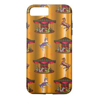 Capa iPhone 8 Plus/7 Plus Cavalos do carrossel no ouro