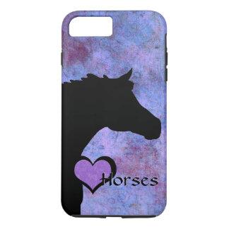 Capa iPhone 8 Plus/7 Plus Cavalos do coração IV (roxos/azul)