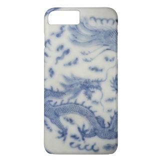 Capa iPhone 8 Plus/7 Plus Chinoiserie chinês do azul de monaco do dragão do