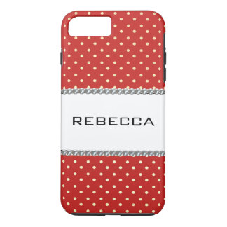 Capa iPhone 8 Plus/7 Plus Chique/na moda/vermelho do teste padrão de pontos