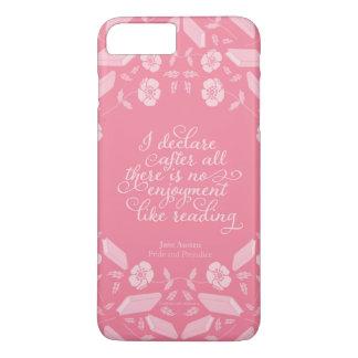 Capa iPhone 8 Plus/7 Plus Citações Bookish florais de Jane Austen do orgulho