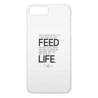 Capa iPhone 8 Plus/7 Plus CITAÇÕES: Confucius: A bacia de arroz, cresce o
