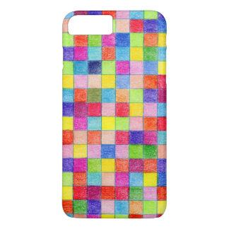 Capa iPhone 8 Plus/7 Plus Colorido colorido em quadrados do papel de gráfico