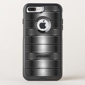 Capa iPhone 8 Plus/7 Plus Commuter OtterBox A cinza metálica listra o teste padrão geométrico