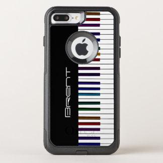 Capa iPhone 8 Plus/7 Plus Commuter OtterBox As chaves do piano com arco-íris escuro destacam a