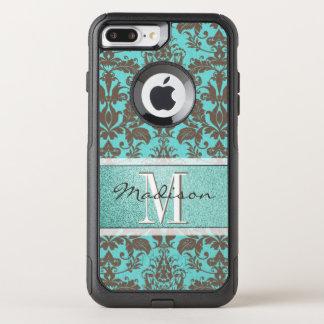 Capa iPhone 8 Plus/7 Plus Commuter OtterBox Azul de turquesa da cerceta & damasco de Brown,