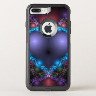 Capa iPhone 8 Plus/7 Plus Commuter OtterBox Calor azul abstrato com franja de néon