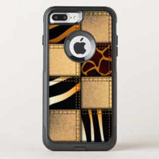 Capa iPhone 8 Plus/7 Plus Commuter OtterBox Colagem animal de jeans do impressão do girafa da