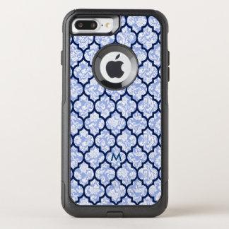 Capa iPhone 8 Plus/7 Plus Commuter OtterBox Damascos do azul do teste padrão & de pó de