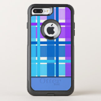 Capa iPhone 8 Plus/7 Plus Commuter OtterBox Design azul & roxo da xadrez