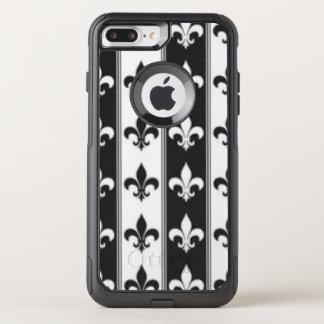 Capa iPhone 8 Plus/7 Plus Commuter OtterBox Design branco preto do impressão do teste padrão