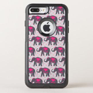 Capa iPhone 8 Plus/7 Plus Commuter OtterBox Elefantes cor-de-rosa quentes cinzentos bonito em