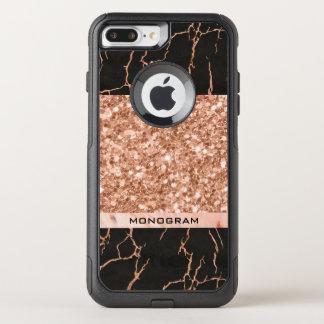 Capa iPhone 8 Plus/7 Plus Commuter OtterBox Geométrico moderno de mármore preto do brilho da