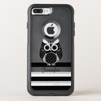 Capa iPhone 8 Plus/7 Plus Commuter OtterBox Ilustração gráfica da coruja em fundo listrado