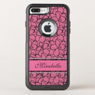 Capa iPhone 8 Plus/7 Plus Commuter OtterBox Lírios cor-de-rosa luxúrias com esboço preto,