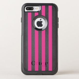 Capa iPhone 8 Plus/7 Plus Commuter OtterBox Listras verticais cor-de-rosa