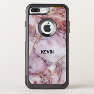 Capa iPhone 8 Plus/7 Plus Commuter OtterBox Luz - mármore cor-de-rosa, design geométrico