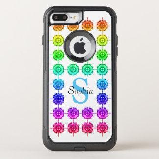 Capa iPhone 8 Plus/7 Plus Commuter OtterBox Monograma colorido do teste padrão do arco-íris