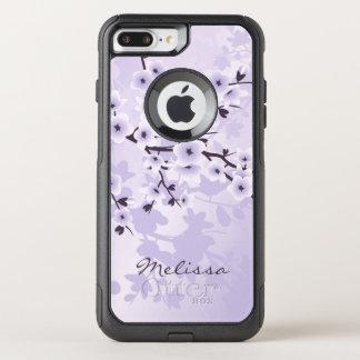 Capa iPhone 8 Plus/7 Plus Commuter OtterBox Monograma floral feminino do roxo das flores de