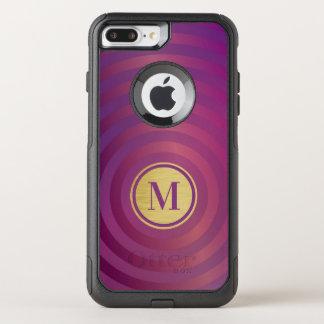 Capa iPhone 8 Plus/7 Plus Commuter OtterBox Monograma roxo legal do ouro do teste padrão da