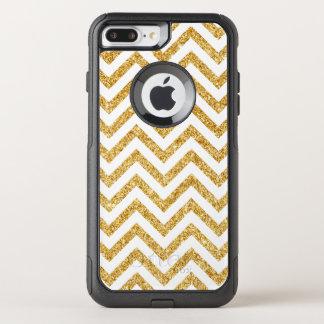 Capa iPhone 8 Plus/7 Plus Commuter OtterBox O ziguezague do brilho do ouro branco listra o