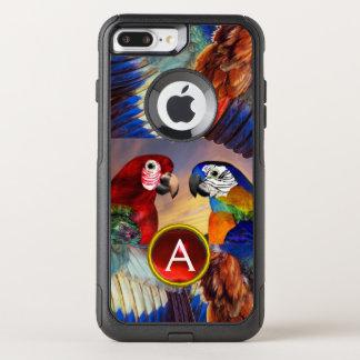 CAPA iPhone 8 PLUS/7 PLUS COMMUTER OtterBox PAPAGAIOS HYPER /RED E MONOGRAMA AZUL DE PEDRA