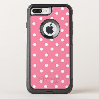 Capa iPhone 8 Plus/7 Plus Commuter OtterBox Rosa com pontos brancos
