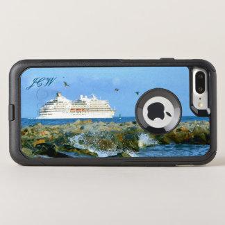 Capa iPhone 8 Plus/7 Plus Commuter OtterBox Seascape com o navio de cruzeiros Monogrammed
