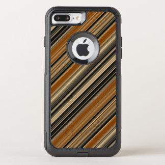 Capa iPhone 8 Plus/7 Plus Commuter OtterBox Sela Brown e teste padrão listrado preto
