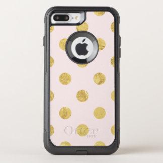 Capa iPhone 8 Plus/7 Plus Commuter OtterBox Teste padrão de bolinhas elegante da folha de ouro