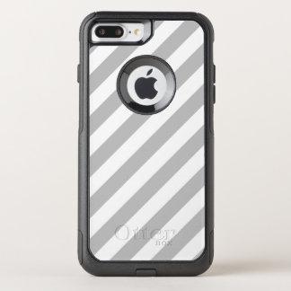Capa iPhone 8 Plus/7 Plus Commuter OtterBox Teste padrão diagonal do cinza e o branco das
