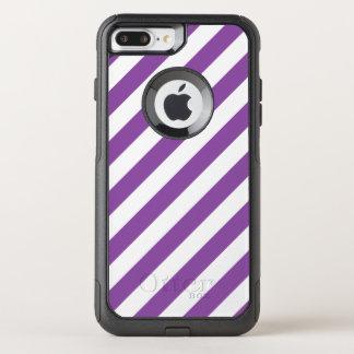 Capa iPhone 8 Plus/7 Plus Commuter OtterBox Teste padrão diagonal roxo e branco das listras