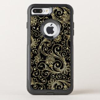 Capa iPhone 8 Plus/7 Plus Commuter OtterBox Teste padrão floral elegante no ouro & no brilho