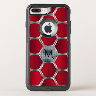 Capa iPhone 8 Plus/7 Plus Commuter OtterBox Teste padrão geométrico vermelho & de prata