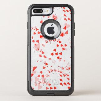 Capa iPhone 8 Plus/7 Plus Commuter OtterBox Teste padrão real do resplendor do coração,