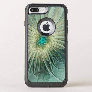 Capa iPhone 8 Plus/7 Plus Commuter OtterBox Trigo abstrato moderno de turquesa da flor da