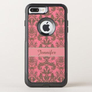 Capa iPhone 8 Plus/7 Plus Commuter OtterBox Vintage, vermelho da violeta pálida & nome marrom