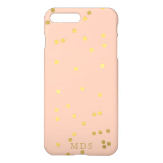 Capa iPhone 8 Plus/7 Plus Confetes cor-de-rosa Peachy Monogrammed do ouro
