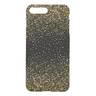 Capa iPhone 8 Plus/7 Plus Confetes pretos & Glam do brilho do ouro