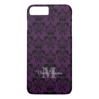 Capa iPhone 8 Plus/7 Plus Cor damasco monogrammed roxa